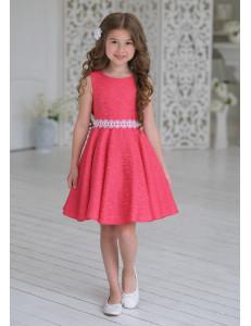 Платье нарядное кораллового цвета из жаккардовой ткани Амадея