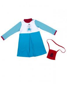 Платье с длинным рукавом бирюзового цвета в полоску с собачкой