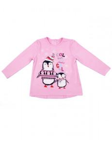 """Блуза для девочек розовая """"веселые пингвины"""""""