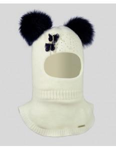 """Шлем зимний белый с двумя натуральными помпонами """"бабочки"""""""