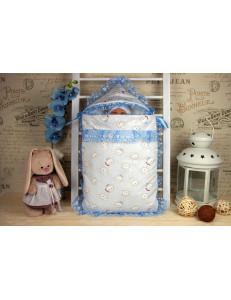 Комплект на выписку кружевной голубой «Кролики», осенний/весенний