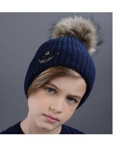 """Шапка зимняя для мальчиков темно-синего цвета  с натуральным помпоном """"Вихрь"""""""