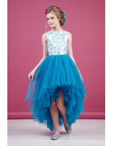"""Платье нарядное голубое для девочек со шлейфом и блестками """"Балет"""""""