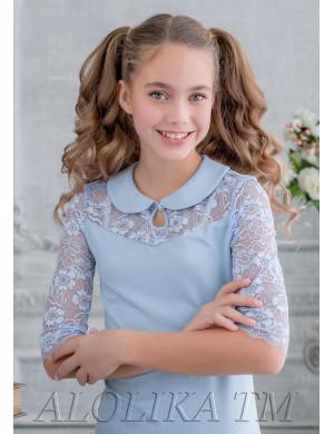 """Блузка голубого цвета с кружевной кокеткой """"Фанни"""""""