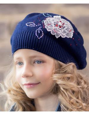 Берет весенний синего цвета на девочку с цветком Георгина